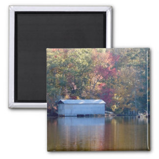 Pretty Reflection - Boathouse by the Water Square Magnet