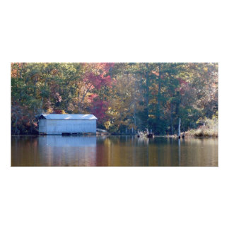 Pretty Reflection - Boathouse by the Water Picture Card