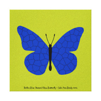 Pretty Reflex Blue Stained Glass Butterfly Stretched Canvas Print