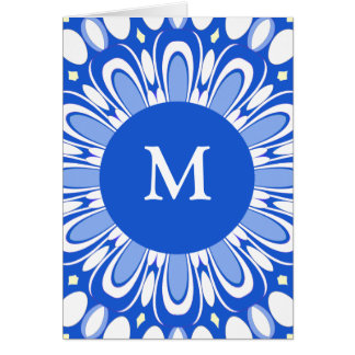 Pretty Retro Blue & White Monogram Greeting Card