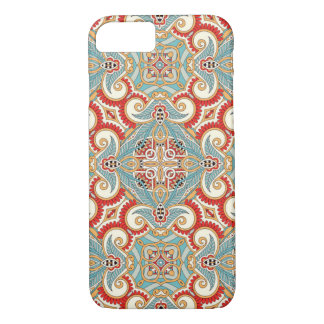 Pretty Retro Chic Red Teal Floral Mosaic Pattern iPhone 8/7 Case
