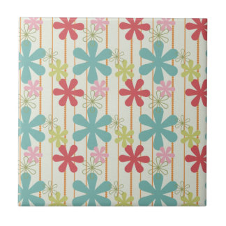 Pretty Retro Colorful Wall Flowers Stripes Pattern Small Square Tile