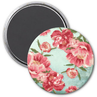 Pretty Retro Flower Chintz Peonies Personalized 7.5 Cm Round Magnet