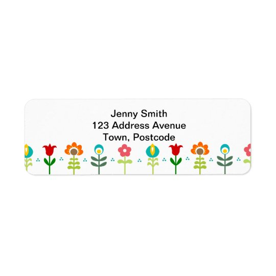 Pretty Retro folk flowers Return Address Label