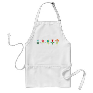 Pretty Retro folk flowers Standard Apron