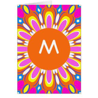Pretty Retro Orange & Pink Monogram Greeting Card