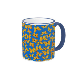 Pretty Ringer Mug, Golden Butterflies on Sky Blue