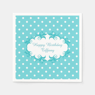Pretty Robins Egg Blue Polka Dot Paper Napkins