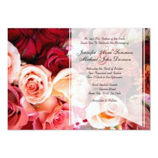 Pretty Romantic Pink Roses Wedding Card