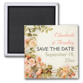 Pretty romantic roses wedding Save the Date Magnet