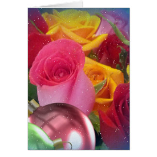 Pretty rose buds christmas card