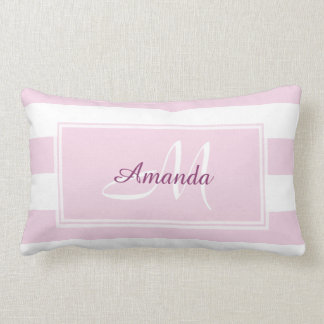 Pretty Rose Flower Pink Stripe Throw Pillow
