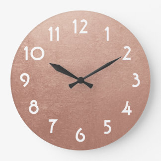 Pretty Rose Gold Foil Photo Large Clock