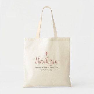 Pretty Rose Gold Thank You Baptism Tote Bag