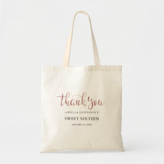Pretty Rose Gold Thank You Sweet Sixteen Tote Bag