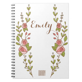 Pretty Rose Personalized Diary Notebook