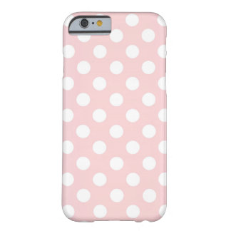 Pretty rose quartz color with white Polka Dots Barely There iPhone 6 Case