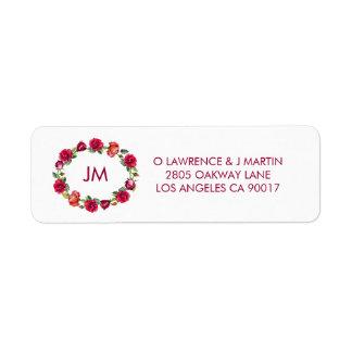 Pretty Roses Monogram Wreath Floral Return Address Label