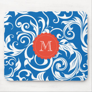 Pretty Royal Blue Monogram Floral Wallpaper Red Mouse Pad