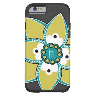 Pretty Sage and Blue Flower Petal Design Tough iPhone 6 Case