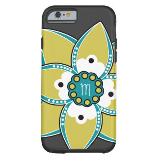 Pretty Sage and Blue Flower Petal Design Tough iPhone 6 Case