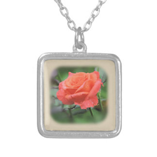 Pretty Salmon Colored Rose with Raindrops Silver Plated Necklace