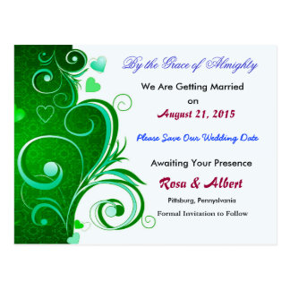 Pretty Save the Date Weddding Postcard (Green)