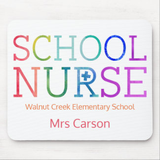Pretty School Nurse Typography Personalized Mouse Pad