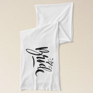 Pretty script handwriting scarf for wedding bride