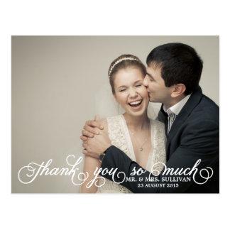 Pretty Script Wedding Photo Thank You Postcard