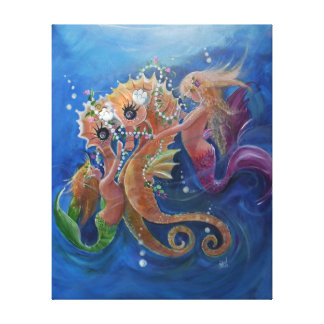 Pretty Sea horses and Mermaids Canvas Print