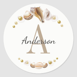 Pretty Sea Shells Monogrammed and Personalized Classic Round Sticker