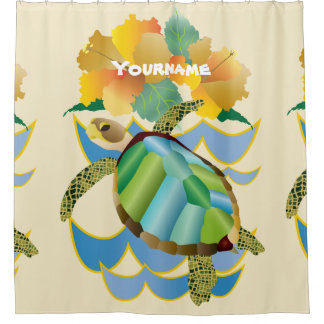 Pretty Sea Turtle Tropical Yellow Hibiscus Flowers Shower Curtain