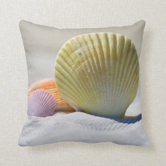 "Pretty Seashells Polyester Throw Pillow 16"" x 16"