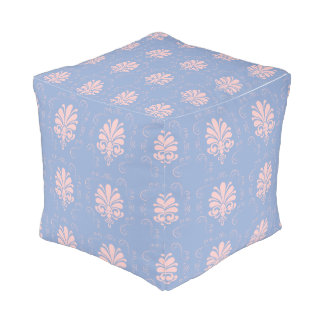 Pretty serenity and quartz damask patterned pouf