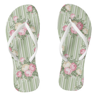 Pretty shabby chic pink roses green stripes thongs