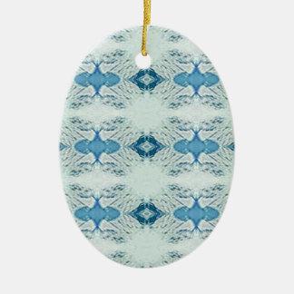 Pretty Shades of Blues In Modern Pattern Ceramic Ornament