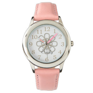 Pretty Shiny & Pink Floral Ornament Watch