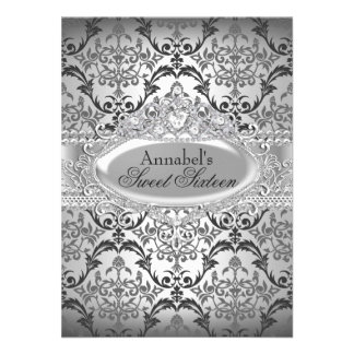 Pretty Silver Damask Sweet 16 Invite