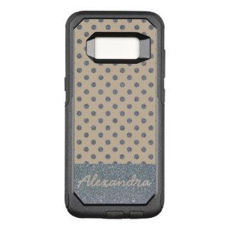 Pretty Silver Glitter Dots on soft Beige name OtterBox Commuter Samsung Galaxy S8 Case