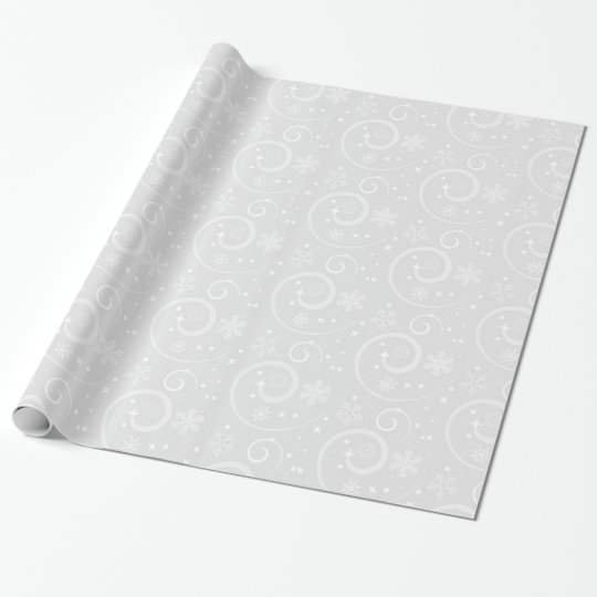 Pretty Silver Snowflakes Wrapping Paper