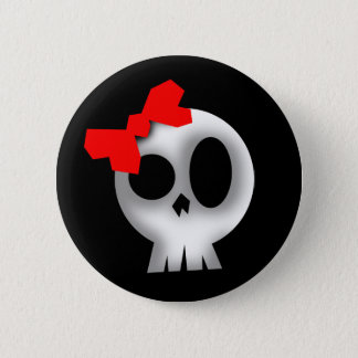 Pretty Skull with Red Bow 6 Cm Round Badge