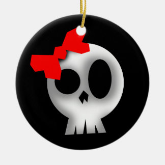 Pretty Skull with Red Bow Ceramic Ornament