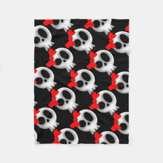 Pretty Skull with Red Bow Fleece Blanket