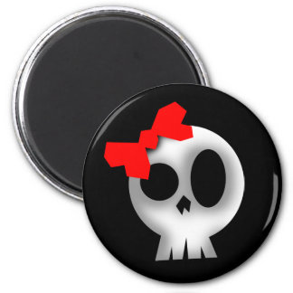 Pretty Skull with Red Bow Magnet
