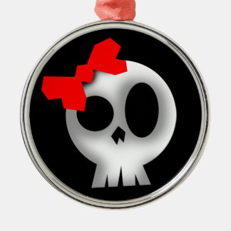 Pretty Skull with Red Bow Metal Ornament