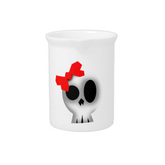 Pretty Skull with Red Bow Pitcher