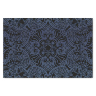 Pretty Slate Blue and Black Paisley Tissue Paper