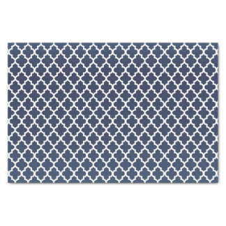 Pretty Slate Blue and Quatrefoil Pattern Tissue Paper
