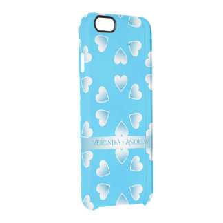 Pretty small blue hearts. Add your own text. Clear iPhone 6/6S Case